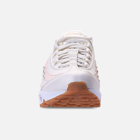 Front view of Women's Nike Air Max 95 Running Shoes in Sail/Guava Ice/Gum Light Brown