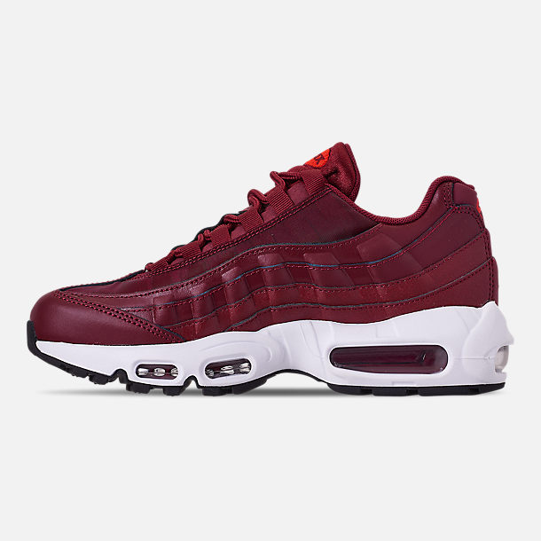 Left view of Women s Nike Air Max 95 Casual Shoes in Team Red Black 26237a7e6