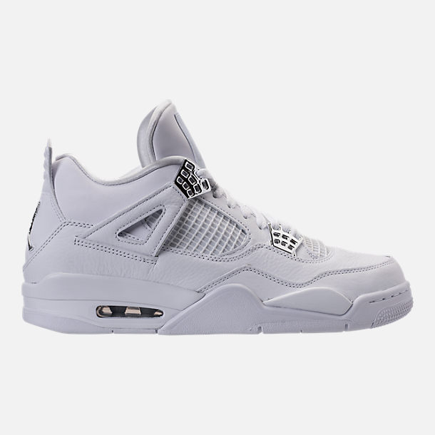 Right view of Men's Air Jordan Retro 4 Basketball Shoes in White/Metallic Silver/Pure Platinum