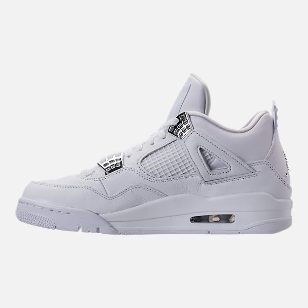 Left view of Men's Air Jordan Retro 4 Basketball Shoes in White/Metallic Silver/Pure Platinum