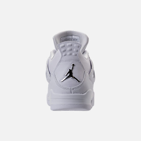 Back view of Men's Air Jordan Retro 4 Basketball Shoes in White/Metallic Silver/Pure Platinum