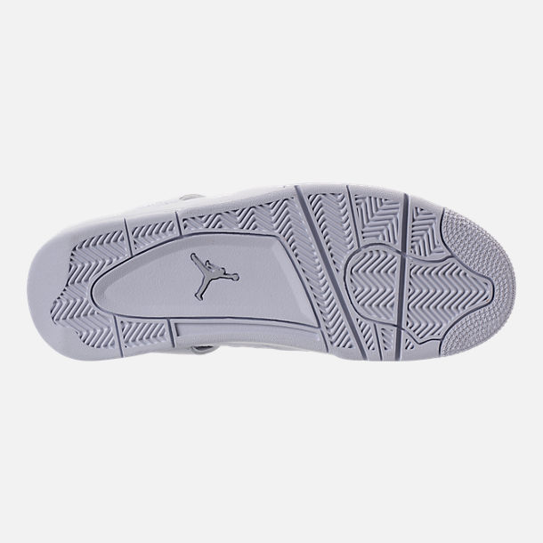 Bottom view of Men's Air Jordan Retro 4 Basketball Shoes in White/Metallic Silver/Pure Platinum