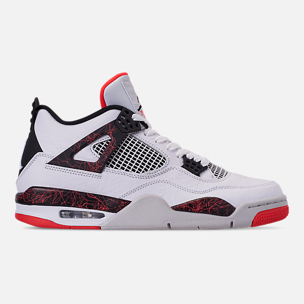 6fd2c0b4bde2 Right view of Men s Air Jordan Retro 4 Basketball Shoes in  White Black Bright