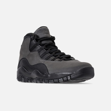 Three Quarter view of Men's Air Jordan 10 Retro Basketball Shoes in Dark Shadow/True Red/Black