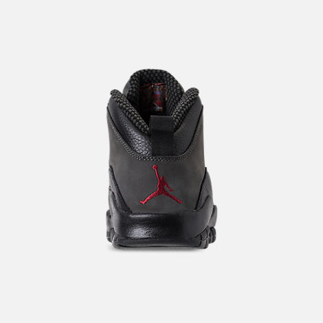 Back view of Men's Air Jordan 10 Retro Basketball Shoes in Dark Shadow/True Red/Black