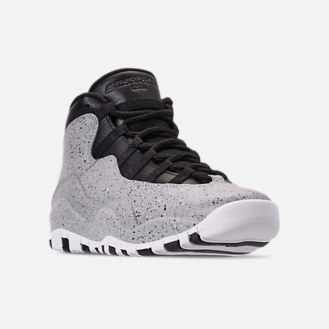 Three Quarter view of Big Kids  Air Jordan Retro 10 Basketball Shoes in  Light Smoke 8f703314988a