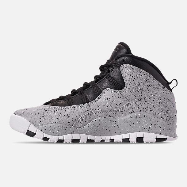Left view of Big Kids  Air Jordan Retro 10 Basketball Shoes in Light Smoke  Grey ca7e0dc43b70