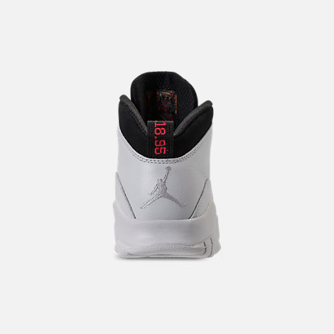 Back view of Kids' Grade School Air Jordan Retro 10 Basketball Shoes in Summit White/Black