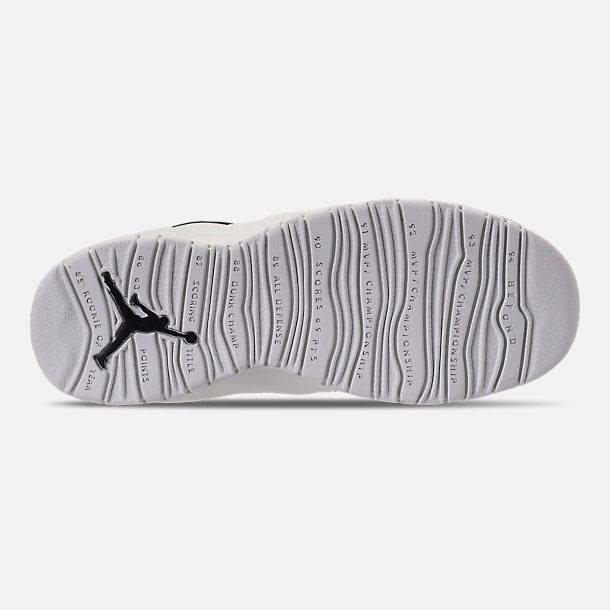 Bottom view of Kids' Grade School Air Jordan Retro 10 Basketball Shoes in Summit White/Black