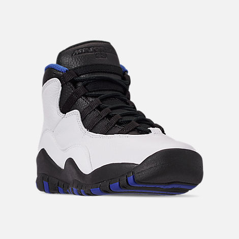 timeless design ed7fe f8f24 Three Quarter view of Big Kids  Air Jordan Retro 10 Basketball Shoes in  White