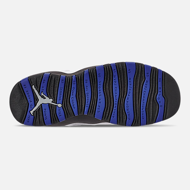 low priced f32ce 41002 Bottom view of Big Kids  Air Jordan Retro 10 Basketball Shoes in White Black