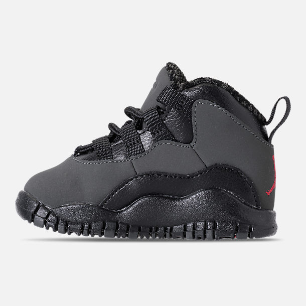 Left view of Kids' Toddler Air Jordan Retro 10 Basketball Shoes in Dark Shadow/True Red/Black