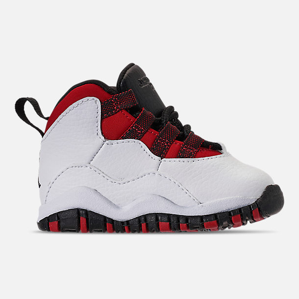 Right view of Kids' Toddler Air Jordan Retro 10 Basketball Shoes in White/Black/University Red