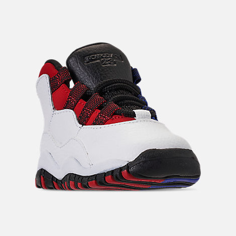 Three Quarter view of Kids' Toddler Air Jordan Retro 10 Basketball Shoes in White/Black/University Red