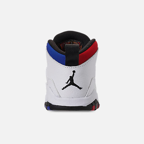 Back view of Kids' Toddler Air Jordan Retro 10 Basketball Shoes in White/Black/University Red