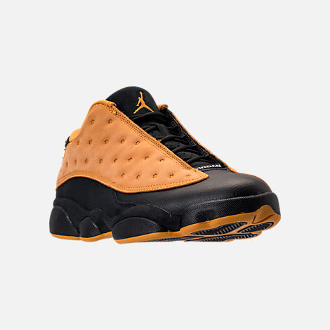 Three Quarter view of Men's Air Jordan Retro 13 Low Basketball Shoes in Black/Chutney