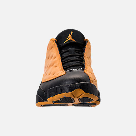 Front view of Men's Air Jordan Retro 13 Low Basketball Shoes in Black/Chutney