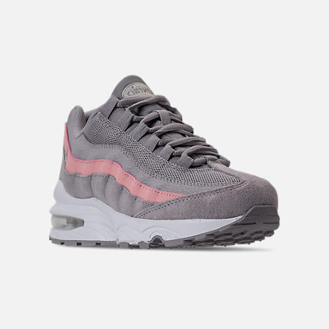 Three Quarter view of Girls' Big Kids' Nike Air Max 95 Casual Shoes in Atmosphere Grey/Atmosphere Grey