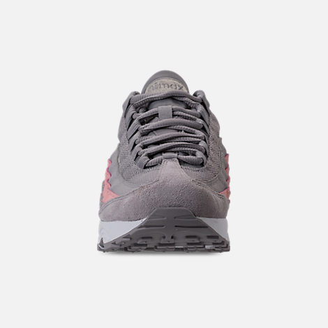 Front view of Girls' Big Kids' Nike Air Max 95 Casual Shoes in Atmosphere Grey/Atmosphere Grey