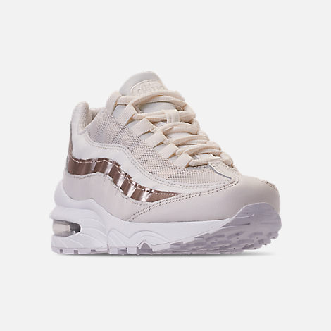 Three Quarter view of Girls' Big Kids' Nike Air Max 95 Casual Shoes in Phantom/Metallic Red Bronze/White