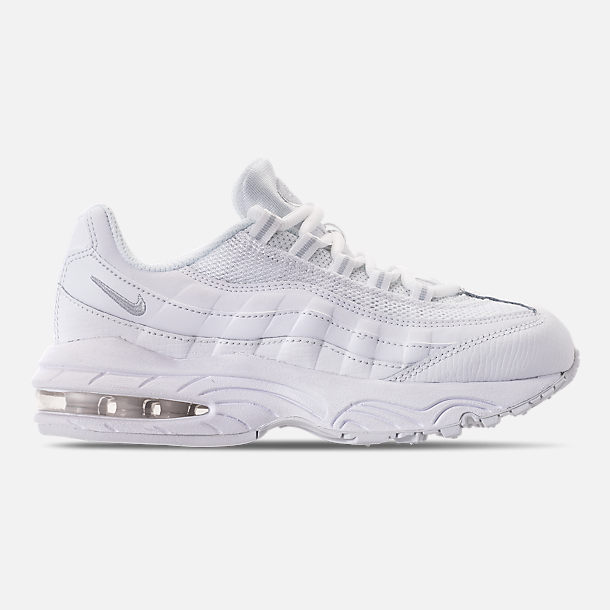 Right view of Boys' Little Kids' Nike Air Max 95 Casual Shoes in White/White/Pure Platinum