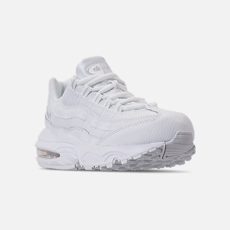 Three Quarter view of Boys' Little Kids' Nike Air Max 95 Casual Shoes in White/White/Pure Platinum
