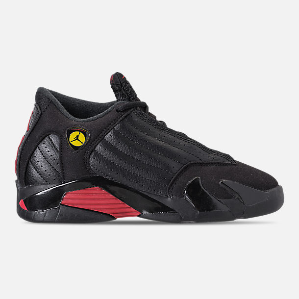Right view of Kids' Preschool Air Jordan Retro 14 Basketball Shoes in Black/Varsity Red/Metallic Silver