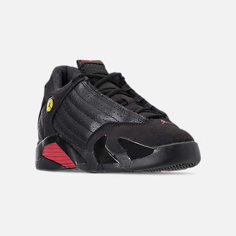 Three Quarter view of Kids' Preschool Air Jordan Retro 14 Basketball Shoes in Black/Varsity Red/Metallic Silver