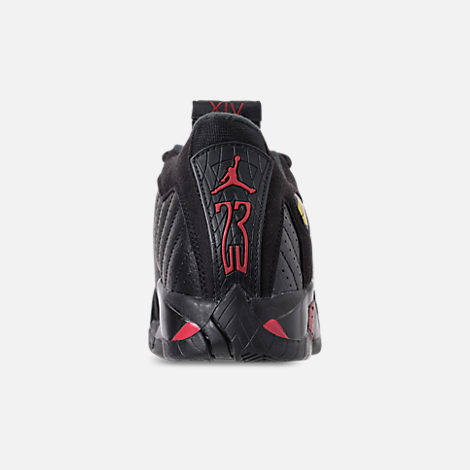 Back view of Kids' Preschool Air Jordan Retro 14 Basketball Shoes in Black/Varsity Red/Metallic Silver