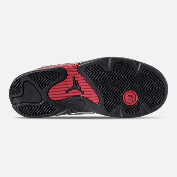 Bottom view of Kids' Preschool Air Jordan Retro 14 Basketball Shoes in Black/Varsity Red/Metallic Silver