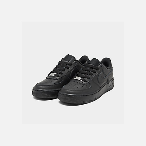 Three Quarter view of Big Kids' Nike Air Force 1 Low Casual Shoes in Black