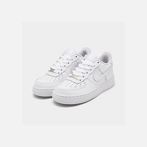 Three Quarter view of Big Kids' Nike Air Force 1 Low Casual Shoes in White