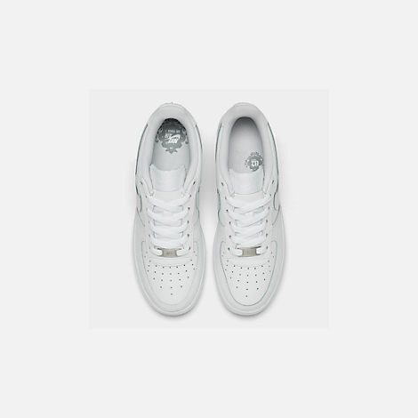 Back view of Kids' Grade School Nike Air Force 1 Low Casual Shoes in White