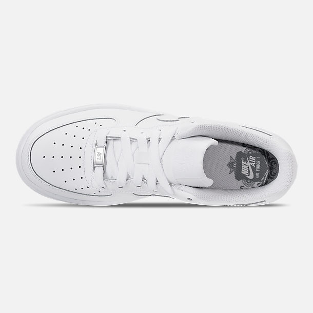 Top view of Kids' Grade School Nike Air Force 1 Low Casual Shoes in White