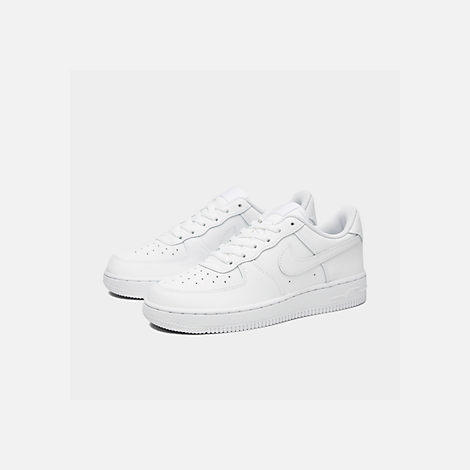 Three Quarter view of Little Kids' Nike Air Force 1 Low Casual Shoes in White/White/White