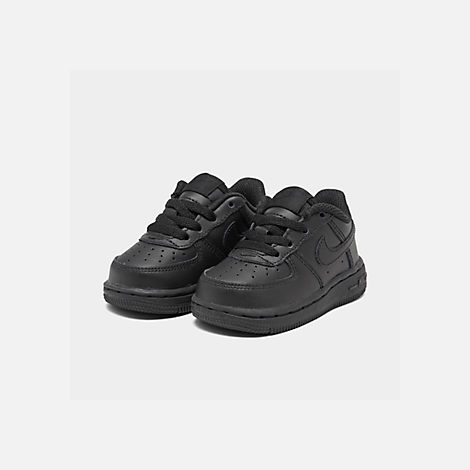 Three Quarter view of Kids' Toddler Nike Air Force 1 Low Casual Shoes in Black