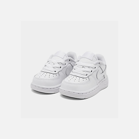 Three Quarter view of Kids' Toddler Nike Air Force 1 Low Casual Shoes in White