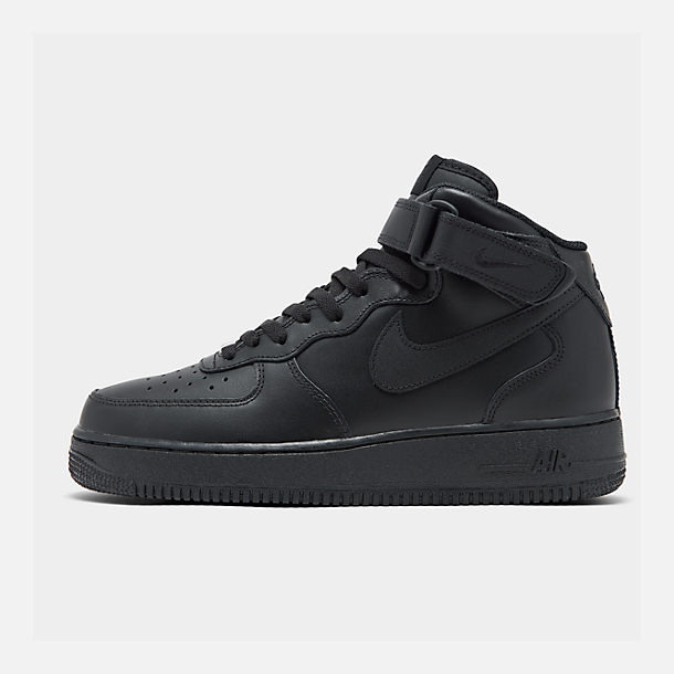 Right view of Kids' Grade School Nike Air Force 1 Mid Casual Shoes in Black/Black