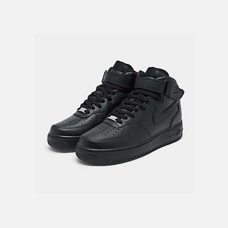 Three Quarter view of Kids' Grade School Nike Air Force 1 Mid Casual Shoes in Black/Black
