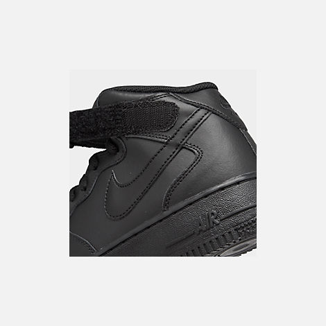 Front view of Kids' Grade School Nike Air Force 1 Mid Casual Shoes in Black/Black