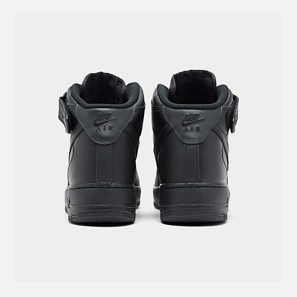 Left view of Kids' Grade School Nike Air Force 1 Mid Casual Shoes in Black/Black