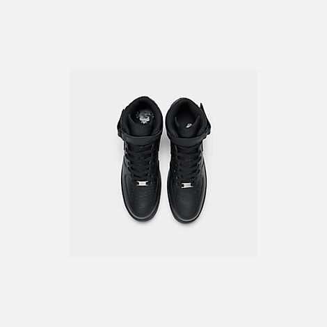 Back view of Kids' Grade School Nike Air Force 1 Mid Casual Shoes in Black/Black