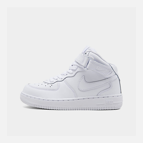 Right view of Little Kids' Nike Air Force 1 Mid Basketball Shoes in White
