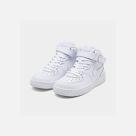 Three Quarter view of Little Kids' Nike Air Force 1 Mid Basketball Shoes in White