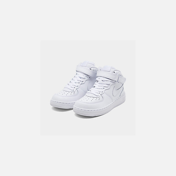 096e604c13 Three Quarter view of Little Kids' Nike Air Force 1 Mid Basketball Shoes in  White