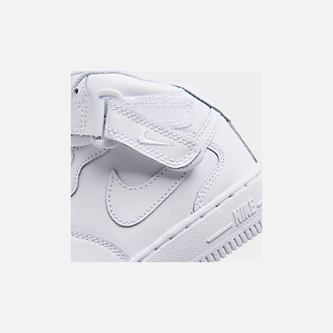 Front view of Little Kids' Nike Air Force 1 Mid Basketball Shoes in White