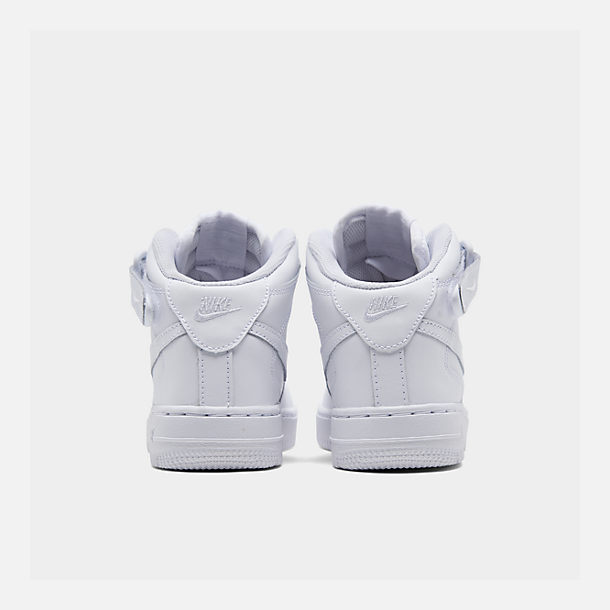 Left view of Little Kids' Nike Air Force 1 Mid Basketball Shoes in White