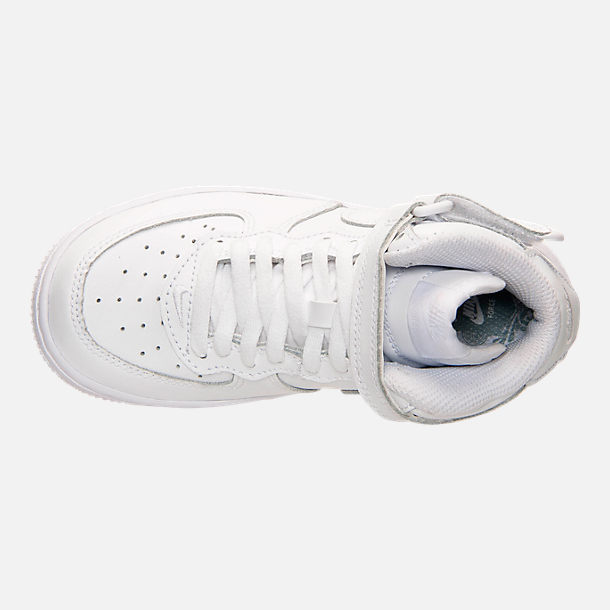 Top view of Little Kids' Nike Air Force 1 Mid Basketball Shoes in White
