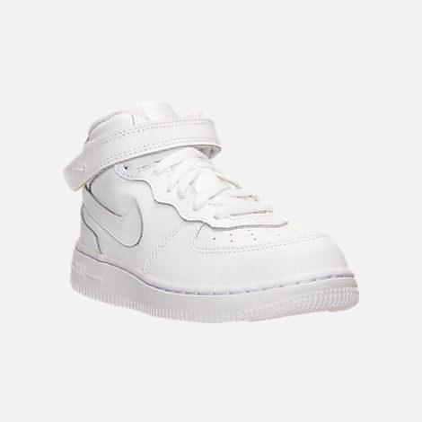 Three Quarter view of Toddler Nike Air Force 1 Mid Basketball Shoes in White