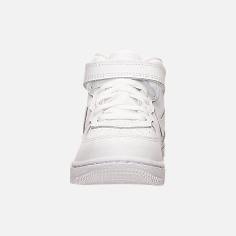 Front view of Toddler Nike Air Force 1 Mid Basketball Shoes in White